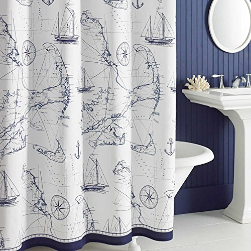 Uphome Shabby Cape Island Map Bathroom Shower Curtain - Navy and White Nautical Style Pattern Polyester Fabric Kids Decorative Curtain Ideas (72