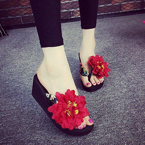 Hausschuhe Meine Damen Flip Flops,anti slide Heel Sandalen,lady Fashion Schuhe mit hohen Absätzen,37,Weiß