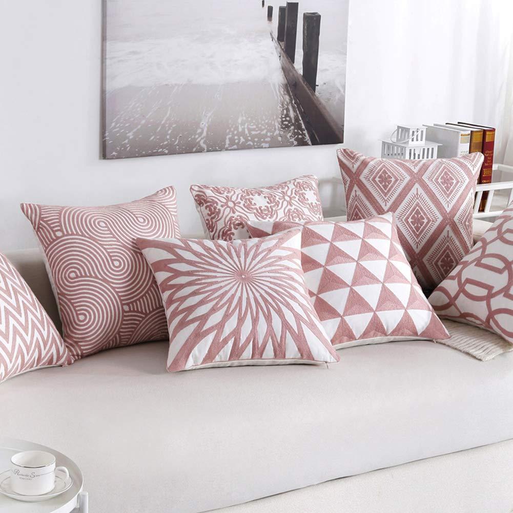 ETbotu Funda de Almohada con Bordado Rosa para decoración de ...