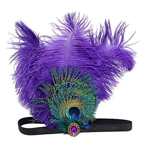 Song Qing Women's Feather Headpiece Wedding Headbands for Bride Crystal Rhinestone 1920s Gatsby Flapper Headband (Purple)