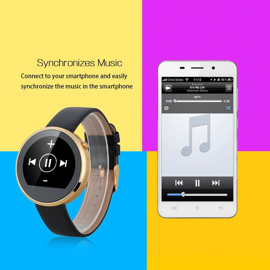 LEMFO DM360 - Ajustable Smartwatch Reloj Bluetooth (IPS 1.22, Impermeable, Siri, Podometro, Ritmo Cardíaco, Monitor de Sueño, Anti-Perdida, ...