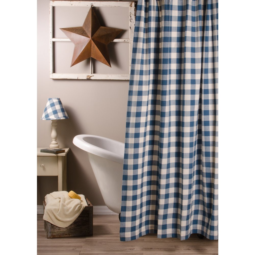 Home Collections by Raghu 72x72, Colonial Blue and Buttermilk Buffalo Check Shower Curtain