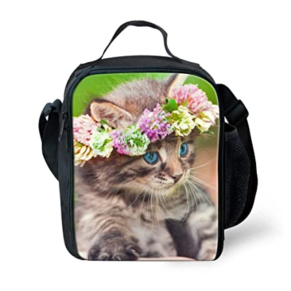 6baab804af1c LedBack Lunch Bag for Kids Girls Cute Cat School Lunch Box Animal ...