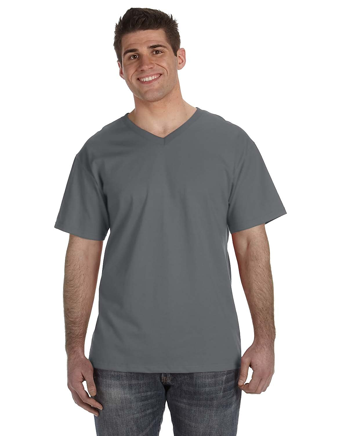Fruit of the Loom Men's Heavy Cotton HD V-Neck T-Shirt, CHARCOAL GREY