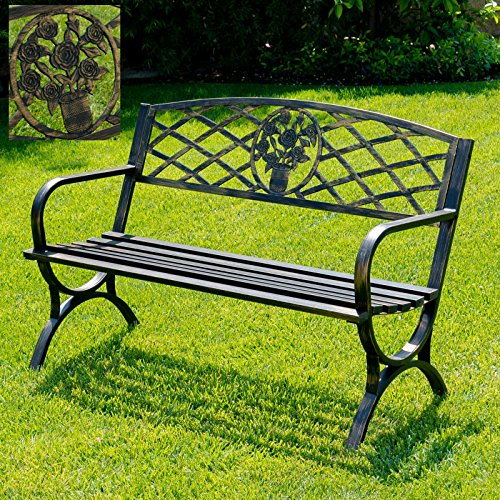 Outdoor Bench Patio Chair Metal Garden Furniture Deck Backyard Park Porch Seat Bronze # 570 (Toronto Outdoor Furniture)