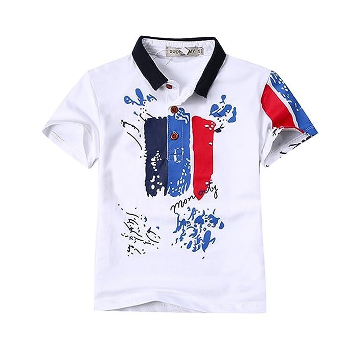 70b33b015 Budermmy Children Polo Neck Summer Colorful T Shirts(White,3/4 ...