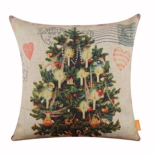 LINKWELL 18x18 inches Merry Christmas Tree with Candle Burlap Throw Cushion Cover Pillowcase CC1187 ()