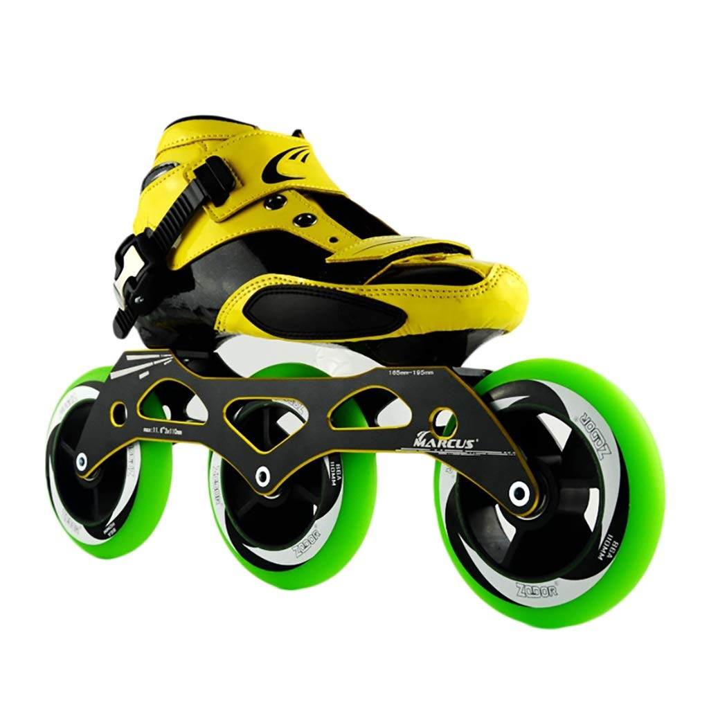 NUBAOgy Inline Skates, 90-110 Mm Diameter High Elastic PU Wheels, Adjustable Inline Skates for Children, (Color : Green, Size : 33)