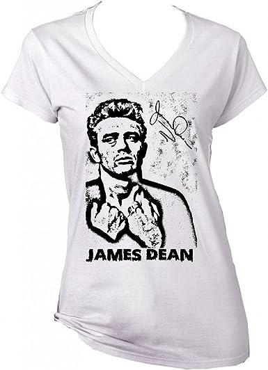 teesquare1st James Dean American Actor 1 Camiseta Blanca para Mujer de algodón: Amazon.es: Ropa y accesorios