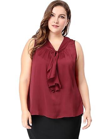 d2576ea3053 Sourcingmap Women s Plus Size Ruffle Front V Neck Sleeveless Top 1X Burgundy