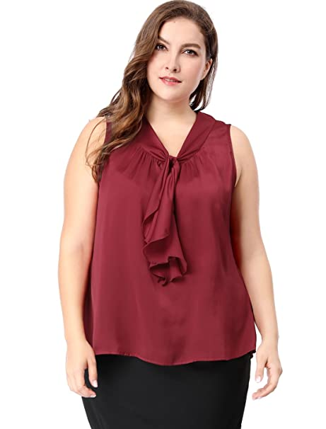 24515d6c344e92 uxcell Women's Plus Size Ruffle Front V Neck Sleeveless Top 1X Burgundy