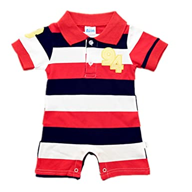 27abf6ad7003 Ajia Baby Unisex Clothes Polo Style Striped Cotton Romper 3 Color ...