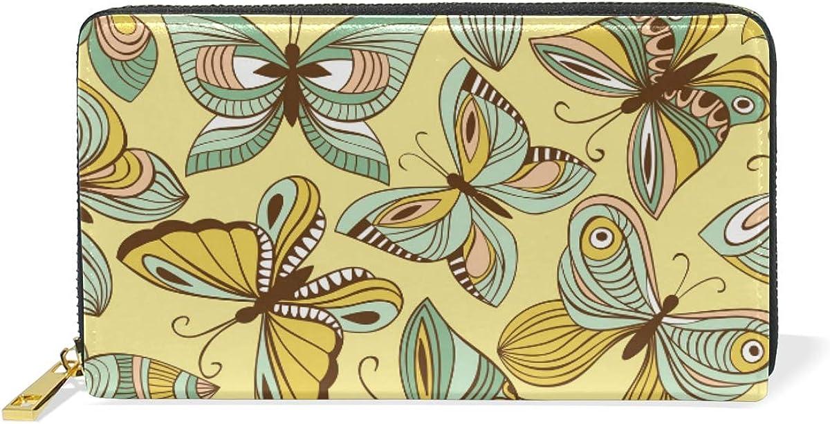 Yellow Butterflies Peacock Wallet Real Leather Zipper Coin Phone Purse Clutch for Women