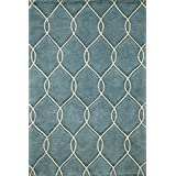 Momeni Rugs BLISSBS-12TEL2030 Bliss Collection, Hand Carved & Tufted Contemporary Area Rug, 2' x 3', Teal Blue