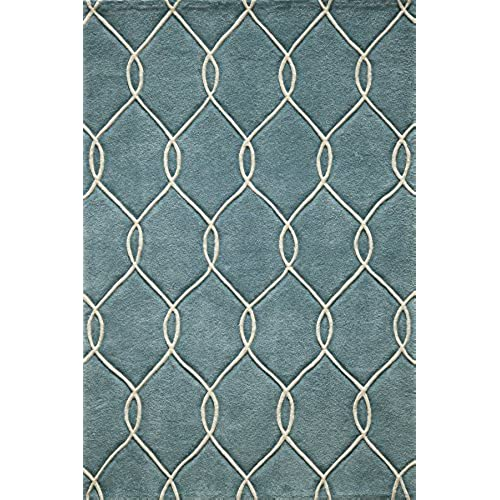 Momeni Rugs BLISSBS 12TEL2030 Bliss Collection, Hand Carved U0026 Tufted  Contemporary Area Rug, 2u0027 X 3u0027, Teal Blue