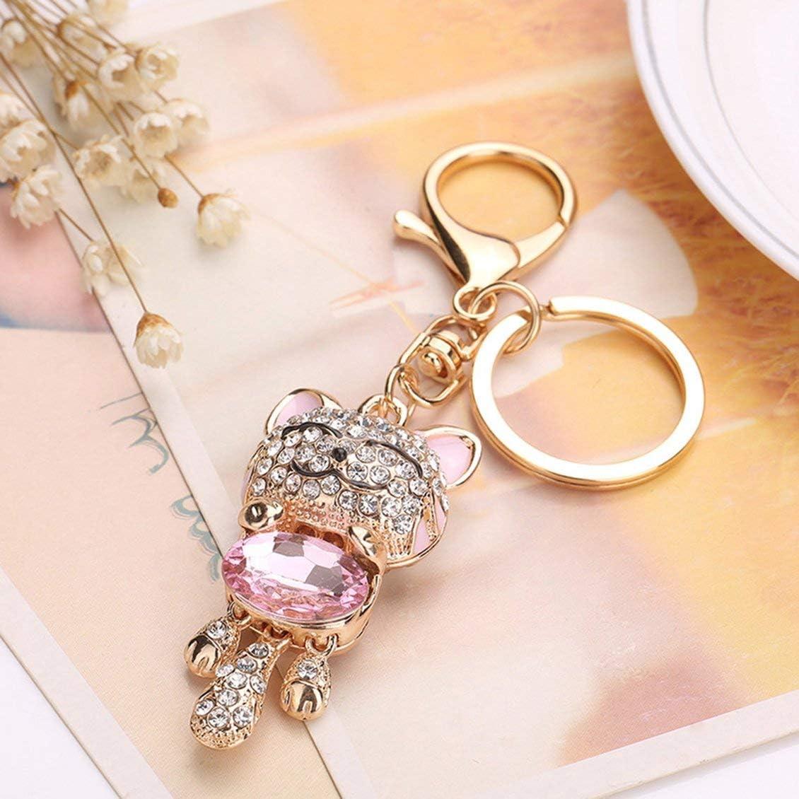 Rose Pgige Diamant Chat Porte-Bonheur Chat Mignon Bijou Chaton Porte-cl/és Sac Voiture Pendentif