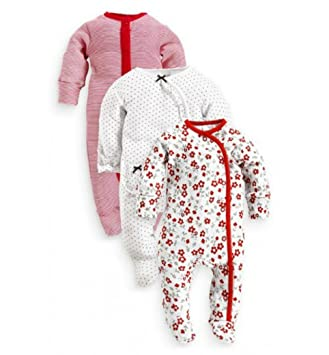 51587570442 Next Baby Girl 3 Pack Flower stripe  Spot Sleepsuits Rompers And Matching Tie  Top