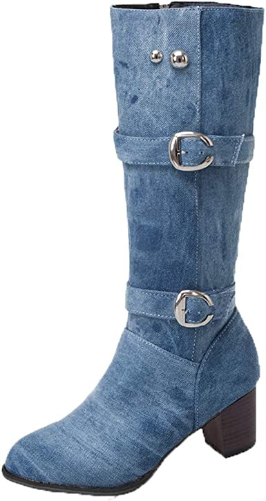 Womens Winter Booties Stretch High Over The Knee Mid Calf Heel Boots Flat Shoes