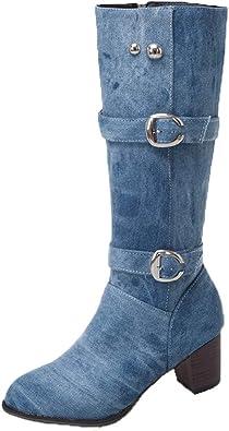 manadlian Femme Bottes et Bottines Denim Chaussures Talons
