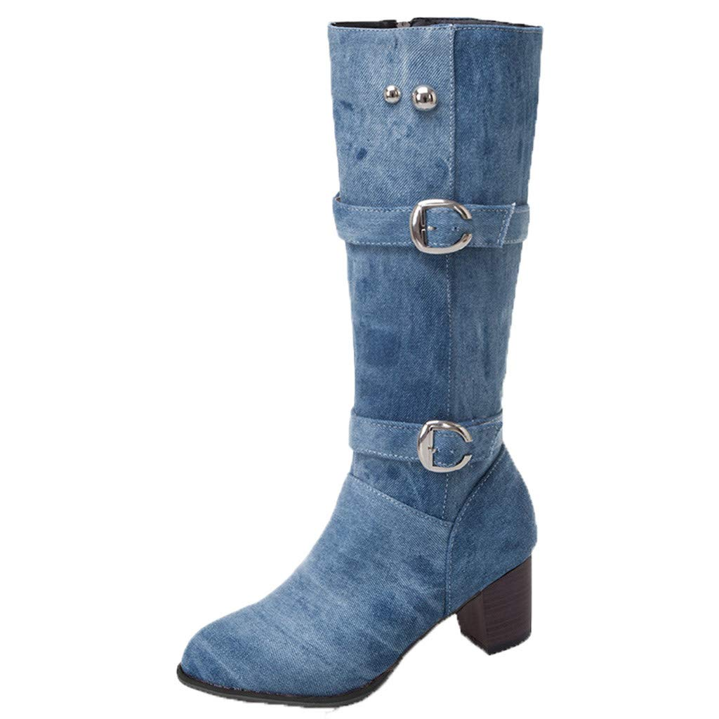 BIKETAFUWY Mid-Calf Denim Boots,Women's Round Toe Knee High Long Boots Buckle Strap Platform Shoes Western Booties by BIKETAFUWY