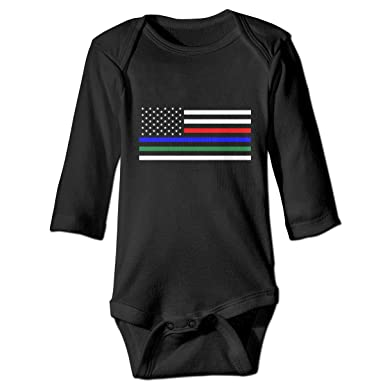 Thin Blue Line Red Line Green Line Flag Long Sleeve Romper Onesie Clothes for Newborn Baby