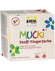 Kreul 28400 - Mucki świecący materiał - farba na palce, 4 x 150 ml w kolorze żółtym, czerwonym, niebieskim i zielonym