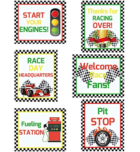 Racing Cutouts for Birthday Party Supply School Bulletin Board Decoration 6Pcs]()