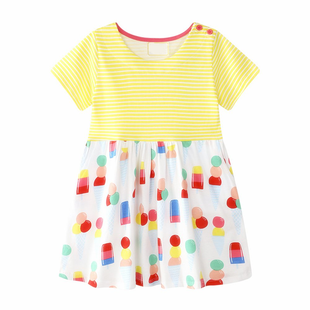 XIER Little Girls Dress Short Sleeves Organic T-Shirt colorful Floral Prints 2t-6t (3-4 Years, Yellow)