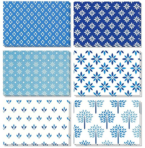 Business House Open Invitations (48 Pack All Occasion Assorted Blank Note Cards Greeting Card Bulk Box Set - Shades of Blue Floral Foliage Designs - Notecards with Envelopes Included 4 x 6 inches)