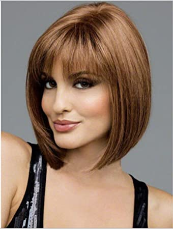 Amazon.com   100% Real Hair! Women s Short BOB Wig Light Brown Human ... c0f5bde09