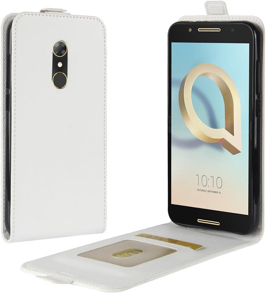 HualuBro Funda Alcatel A7, [Protección Todo Alrededor] Premium PU Cuero Leather Piel Carcasa Case Flip Cover con Ranuras de Tarjetas para Alcatel A7 Smartphone (Blanco): Amazon.es: Electrónica