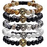 Top Plaza Jewelry Lava Rock Stone Matte Black Agate Mens Gemstone Beads Bracelet W/Gold Lion Head(Pack of 5 Macrame)