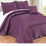4pc 110 X 120 Prune Violet Purple Oversized Bedspread Queen Floor, Polyester, Hangs Over Edge Bedding Drops Side Bed Frame Drapes Large Extra Wide Long French Country Matte Satin Pattern