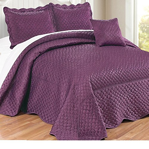 4pc 110 X 120 Prune Violet Purple Oversized Bedspread Queen Floor, Polyester, Hangs Over Edge Bedding Drops Side Bed Frame Drapes Large Extra Wide Long French Country Matte Satin Pattern by OSD