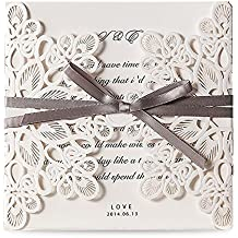 Doris Home Square Wedding Invitations Cards Kits Fall Bridal or Baby Shower Invite, Birthday Invitation Wedding Rehearsal Dinner Invites, Autumn Engagement Bach with Bowknot Hollow,50pcs,WM207
