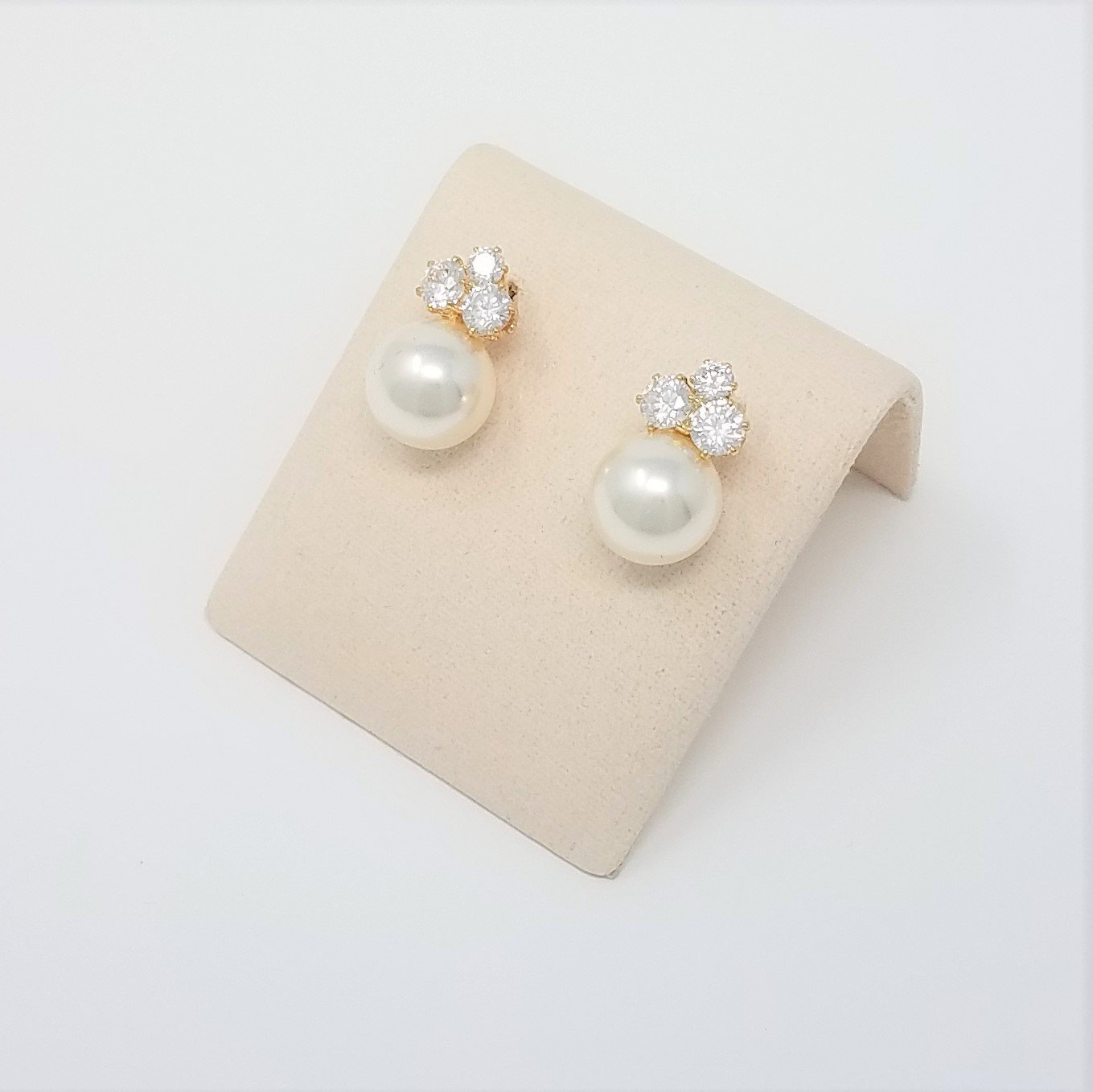 Bridesmaid Gifts - Elegant Pearl & Triple CZ Earrings (8mm, Simulated Pearl) by Bride Dazzle (Image #5)