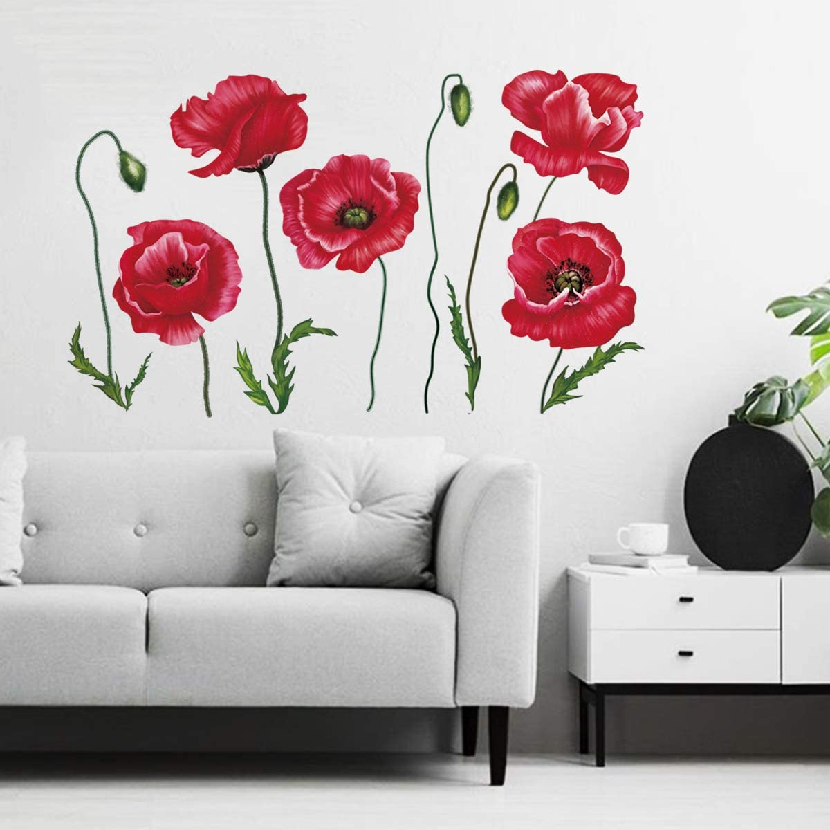 Decalmile Red Poppy Flower Wall Decals Floral Wall Art Stickers Bedroom Living Room Tv Background Home Decor Amazon Ca Home Kitchen