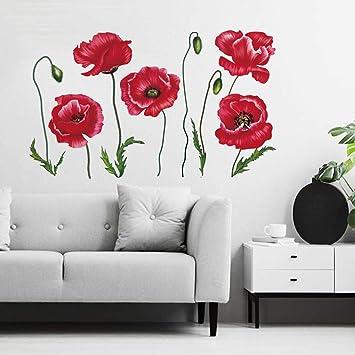 Decalmile Wandtattoo Mohnblume Blume Rote Wandsticker Pflanzen Wandaufkleber Schlafzimmer Wohnzimmer Kuche Wanddeko Amazon De Kuche Haushalt