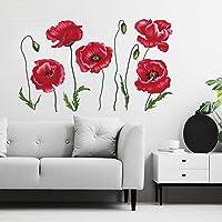 decalmile Pegatinas de Pared Amapola Roja Vinilos Decorativos Plantas de Flores Adhesivos Pared Oficina Habitación…