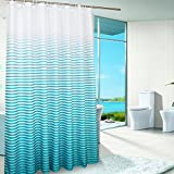 Uforme Extra Wide Shower Curtain Stripes 86 Inch By 78 Inch Long fabric Bathroom Curtain Anti-water and Mold Proof with Hooks for All Ages, Lake Blue