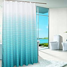 Uforme X-Large Striped Shower Curtain Polyester Waterproof and Mildew Resistant with Grommets, Lake Blue, 96 Inch By 78 Inch
