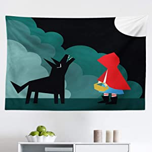 "Lunarable Crying Wolf Tapestry, Cartoon Style Little Red Riding Hood Scene Fairy Tale Illustration Big Bad Wolf, Fabric Wall Hanging Decor for Bedroom Living Room Dorm, 45"" X 30"", Teal Black"