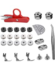 Akozon Accesorios para máquinas de coser 27 piezas, Multifuncionales Prensatelas Accesorios de Máquina de Coser