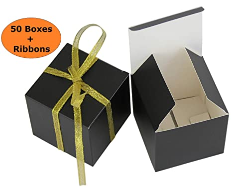 Threadnanny Small Gift Boxes Party Favor Box Black 2 X2 X2 50 Boxes With Gold Ribbons Wedding Favor Birthday Favor Baby Shower Favor Bridal