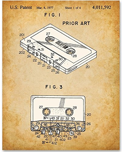 Paper Cassette Frame (Cassette - 11x14 Unframed Patent Print - Great Gift for Musicians and Fans of the 80s)