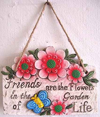 Hanging Wall Plaques Signs With Garden Theme Flowers Butterflies Friends Rustic Concrete (Red (Buy Stormtrooper Outfit)