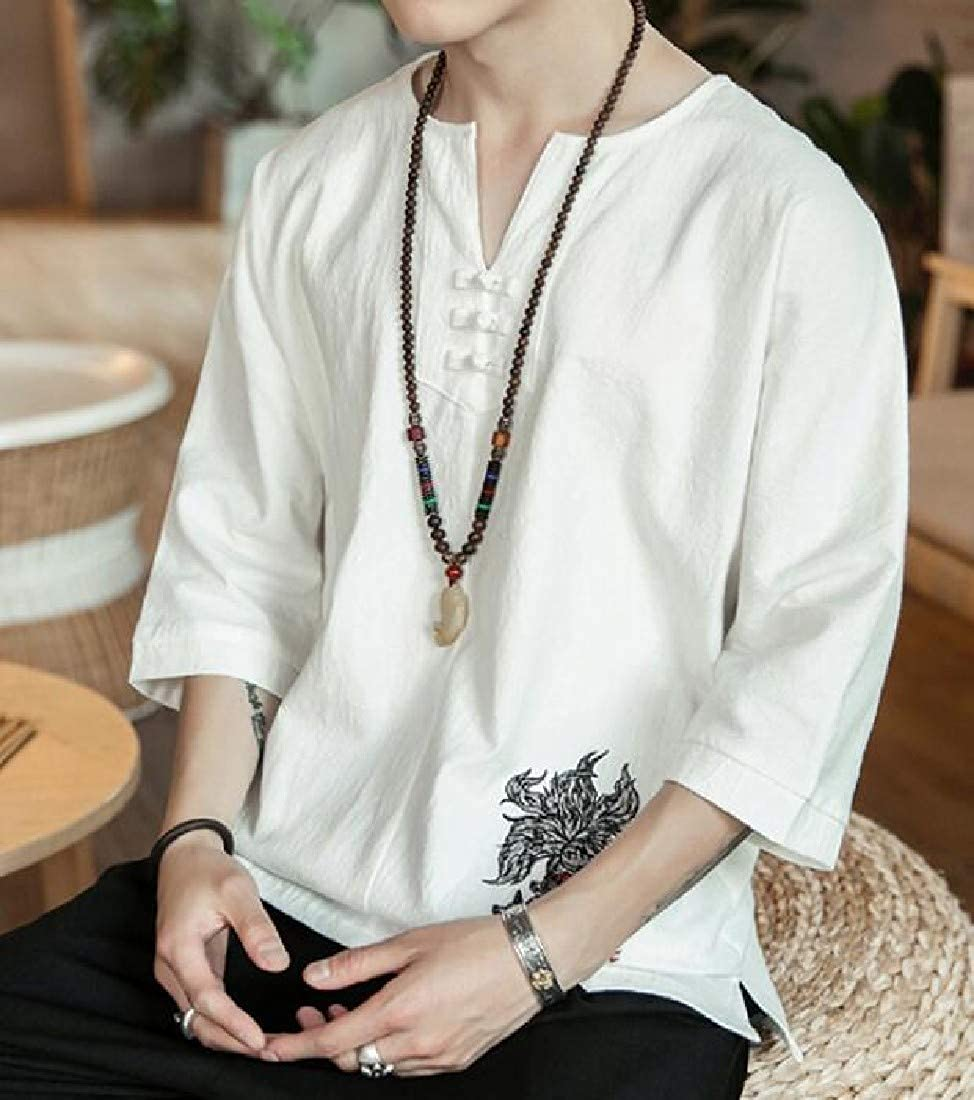 SHOWNO Mens Chinese Style Classic Short Sleeve Embroidery Linen T-Shirts Tops