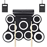Electronic Drum Set, Upgraded 9-Pad Electric Roll up Drum Pads MIDI Drum Kit with Headphone Jack, Built-in Battery&Speaker, Drum Sticks, Foot Pedals for Kids Practice Drum Starters