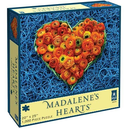 BePuzzled Madalene's Hearts Jigsaw Puzzle by University Games | Blue Rubberbands and Orange Flowers Design Inspired by Monday Hearts for Madalene| 1,000 Piece Jigsaw | For Ages 12 Years and Up