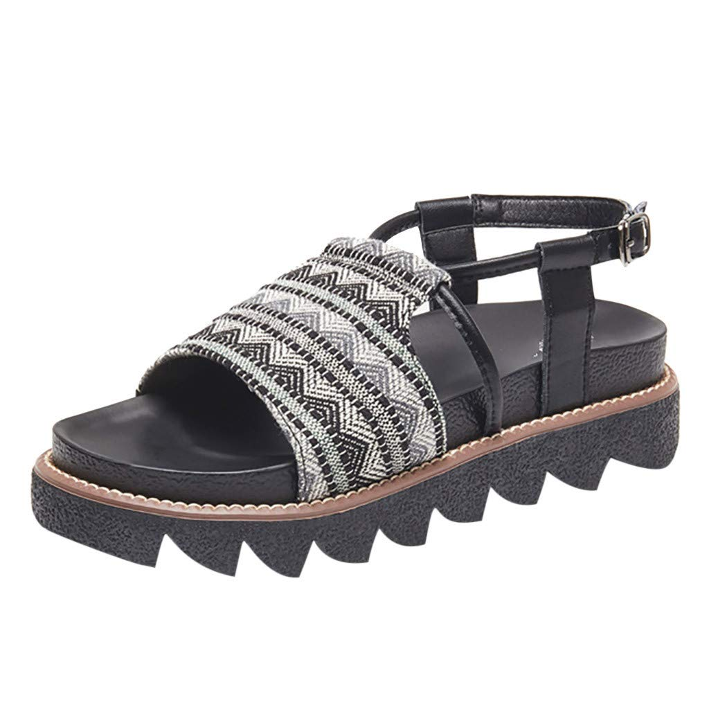 Women Anti-Slip Sandals Clearance Sale, NDGDA Ladies Summer Wild Thick-bottomed Muffin Roman Sandals Fairy Sand Flat Buckle Sandals